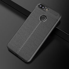 Coque Silicone Gel Motif Cuir Housse Etui pour Huawei Honor 9 Lite Noir