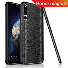 Coque Silicone Gel Motif Cuir Housse Etui pour Huawei Honor Magic 2 Noir