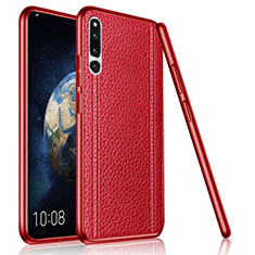 Coque Silicone Gel Motif Cuir Housse Etui pour Huawei Honor Magic 2 Rouge