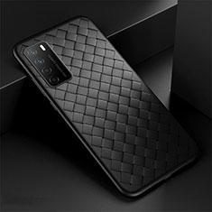 Coque Silicone Gel Motif Cuir Housse Etui pour Huawei Honor Play4 5G Noir