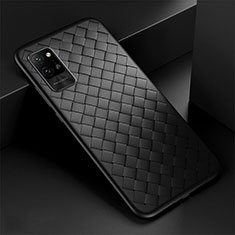Coque Silicone Gel Motif Cuir Housse Etui pour Huawei Honor Play4 Pro 5G Noir