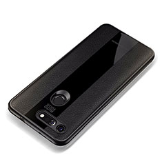Coque Silicone Gel Motif Cuir Housse Etui pour Huawei Honor V20 Noir
