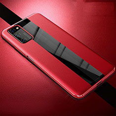 Coque Silicone Gel Motif Cuir Housse Etui pour Huawei Honor View 30 Pro 5G Rouge