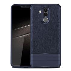 Coque Silicone Gel Motif Cuir Housse Etui pour Huawei Maimang 7 Bleu
