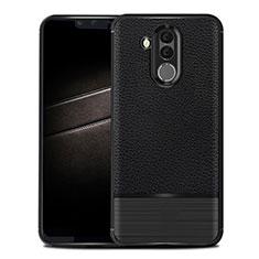 Coque Silicone Gel Motif Cuir Housse Etui pour Huawei Maimang 7 Noir