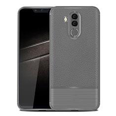 Coque Silicone Gel Motif Cuir Housse Etui pour Huawei Mate 20 Lite Gris