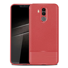 Coque Silicone Gel Motif Cuir Housse Etui pour Huawei Mate 20 Lite Rouge