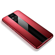 Coque Silicone Gel Motif Cuir Housse Etui pour Huawei Mate 20 RS Rouge