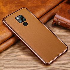 Coque Silicone Gel Motif Cuir Housse Etui pour Huawei Mate 20 X Marron