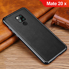 Coque Silicone Gel Motif Cuir Housse Etui pour Huawei Mate 20 X Noir