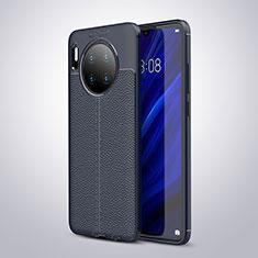 Coque Silicone Gel Motif Cuir Housse Etui pour Huawei Mate 30 Pro 5G Bleu