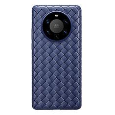 Coque Silicone Gel Motif Cuir Housse Etui pour Huawei Mate 40 Pro+ Plus Bleu