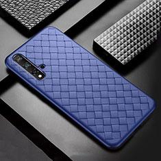 Coque Silicone Gel Motif Cuir Housse Etui pour Huawei Nova 5 Pro Bleu