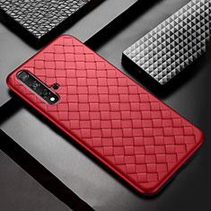 Coque Silicone Gel Motif Cuir Housse Etui pour Huawei Nova 5 Pro Rouge