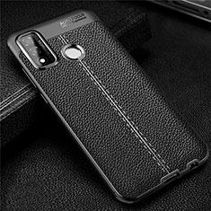 Coque Silicone Gel Motif Cuir Housse Etui pour Huawei P Smart (2020) Noir