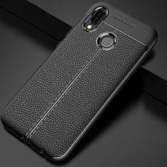 Coque Silicone Gel Motif Cuir Housse Etui pour Huawei P Smart+ Plus Noir