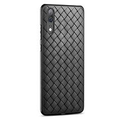 Coque Silicone Gel Motif Cuir Housse Etui pour Huawei P20 Noir