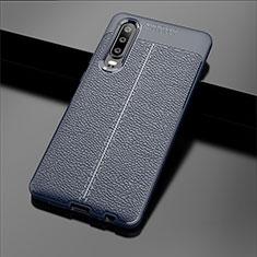 Coque Silicone Gel Motif Cuir Housse Etui pour Huawei P30 Bleu