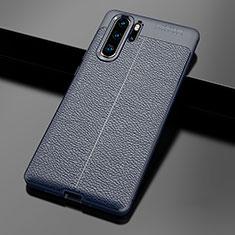 Coque Silicone Gel Motif Cuir Housse Etui pour Huawei P30 Pro Bleu