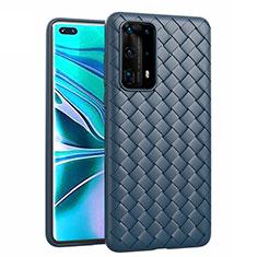 Coque Silicone Gel Motif Cuir Housse Etui pour Huawei P40 Pro+ Plus Bleu