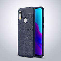 Coque Silicone Gel Motif Cuir Housse Etui pour Huawei Y6 (2019) Bleu
