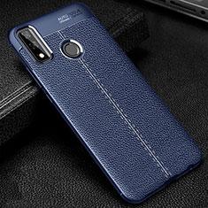 Coque Silicone Gel Motif Cuir Housse Etui pour Huawei Y8s Bleu