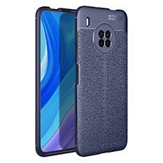 Coque Silicone Gel Motif Cuir Housse Etui pour Huawei Y9a Bleu