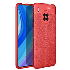 Coque Silicone Gel Motif Cuir Housse Etui pour Huawei Y9a Rouge