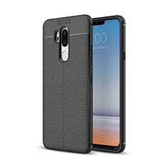Coque Silicone Gel Motif Cuir Housse Etui pour LG G7 Noir