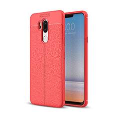 Coque Silicone Gel Motif Cuir Housse Etui pour LG G7 Rouge