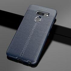 Coque Silicone Gel Motif Cuir Housse Etui pour LG G8 ThinQ Bleu