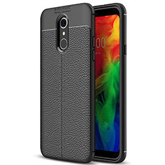 Coque Silicone Gel Motif Cuir Housse Etui pour LG Q7 Noir