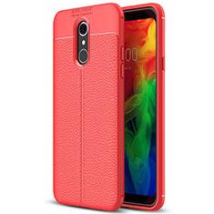 Coque Silicone Gel Motif Cuir Housse Etui pour LG Q7 Rouge