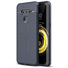 Coque Silicone Gel Motif Cuir Housse Etui pour LG V50 ThinQ 5G Bleu