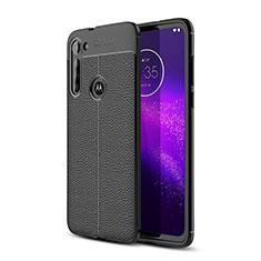 Coque Silicone Gel Motif Cuir Housse Etui pour Motorola Moto G8 Power Noir
