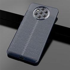 Coque Silicone Gel Motif Cuir Housse Etui pour Nokia 9 PureView Bleu