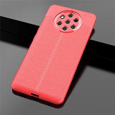 Coque Silicone Gel Motif Cuir Housse Etui pour Nokia 9 PureView Rouge