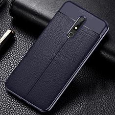 Coque Silicone Gel Motif Cuir Housse Etui pour Nokia X5 Bleu
