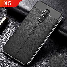 Coque Silicone Gel Motif Cuir Housse Etui pour Nokia X5 Noir