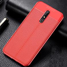 Coque Silicone Gel Motif Cuir Housse Etui pour Nokia X5 Rouge