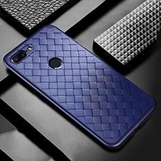 Coque Silicone Gel Motif Cuir Housse Etui pour OnePlus 5T A5010 Bleu