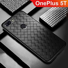 Coque Silicone Gel Motif Cuir Housse Etui pour OnePlus 5T A5010 Noir