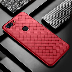 Coque Silicone Gel Motif Cuir Housse Etui pour OnePlus 5T A5010 Rouge