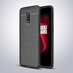 Coque Silicone Gel Motif Cuir Housse Etui pour OnePlus 7 Noir
