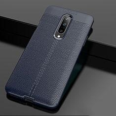 Coque Silicone Gel Motif Cuir Housse Etui pour OnePlus 7 Pro Bleu