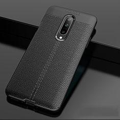 Coque Silicone Gel Motif Cuir Housse Etui pour OnePlus 7 Pro Noir