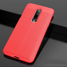 Coque Silicone Gel Motif Cuir Housse Etui pour OnePlus 7 Pro Rouge