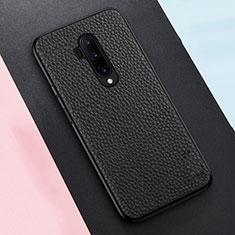 Coque Silicone Gel Motif Cuir Housse Etui pour OnePlus 7T Pro 5G Noir