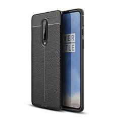 Coque Silicone Gel Motif Cuir Housse Etui pour OnePlus 8 Noir