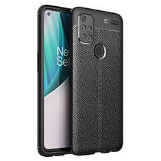 Coque Silicone Gel Motif Cuir Housse Etui pour OnePlus Nord N10 5G Noir
